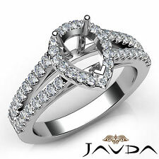 Halo Prong Set Pear Cut Diamond Engagement Semi Mount Ring 18k White Gold 0.75Ct