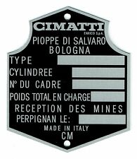 Plaque constructeur CIMATTI - CIMATTI vin plate - CIMATTI typenschild