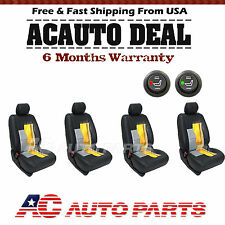 4 Seats Carbon Fiber  Heater Kit Seat Universal Car Cushion - Round Switch
