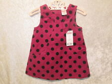 "NWT Gymboree ""Merry & Bright"" Fuscia Polka Dot Corduroy Jumper Dress, 6-12 mos."