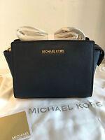 MICHAEL KORS Selma Medium Messenger Crossbody Bag Navy Blue Authentic