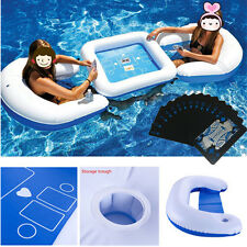 Pool Inflatable Floating Poker Game Table Float Chairs with Waterproof Poker NEW