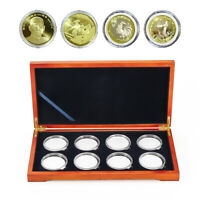 Coin Wood Case Display Box Wooden Storage Collection Holders For 8-Coin