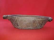 Antique Old India Hand Carved Wooden Kharal Opium Water Pot Bowl Unique Design