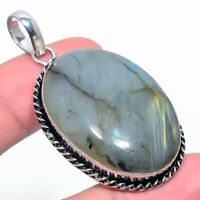 "Labradorite Gemstone Handmade 925 Silver Jewelry Pendant 2.17"" VJ-14839"