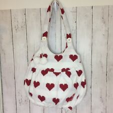 Womens ROXY By Quiksilver White with red hearts knitted Shoulder Hand Bag  EUC
