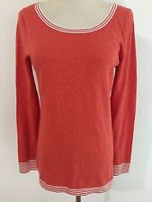 Banana Republic Sweater Muted Orange w/White Stripes Size S NWT MSRP $59.50
