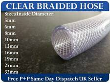 CLEAR PVC BRAIDED HOSE - FOOD GRADE - OIL / GASES / WATER - REINFORCED PIPE TUBE