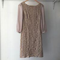 Review Womens Beige 3/4-sleeves Lace Sheath Dress, AU Size 6