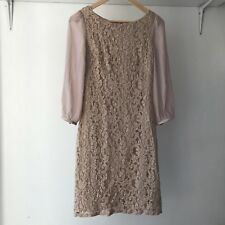 Review Womens Beige 3/4-sleeves Lace Sheath Dress, AU Size 6