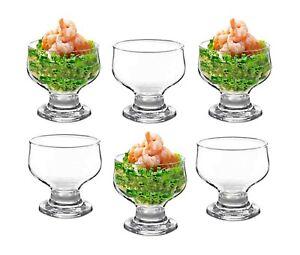 6 x Glass Prawn Cocktail Bowls Glasses Appetizer Starter Serving Dishes Stemmed