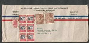 Colombia 1940 WWII no censor cover Constructora De Carreteras Cartagena to NY