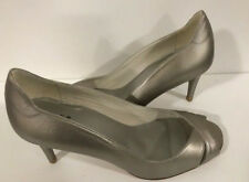 New Stuart Weitzman platinum luxury leather open toe shoes pumps 8 US Made Spain