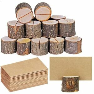 Rustic Vintage Wedding Table Decors Stump Shapes Wooden Name Place Cards Holders