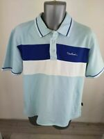 MENS PIERRE CARDIN BLUE POLO SHIRT TOP SIZE UK L LARGE 3 BUTTON COLLARED