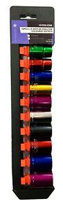 "10Pc 1/2"" Drive Shallow Coloured Sockets Set 13,14,15,16,17,18,19,21,22,24mm"