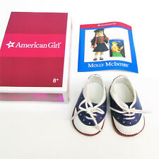 American Girl Doll MOLLY'S SADDLE SHOES + PAMPHLET Blue & White Laces In AG BOX!