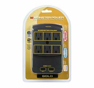 Monster Power Gold 650 USB 6 AC Outlets 2 USB 3.4AMP outlets 1080 Joules