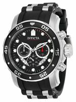Invicta Men's Pro Diver Chrono 100m Stainless Steel Black Silicone Watch 21927