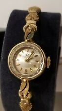 Vintage Omega 14KT Solid Yellow Gold Ladies Watch  G.F NOS band Runs 17 Jewel