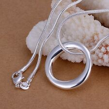 Women Fashion 925 Sterling Silver Chain Circle Necklace With Pendant Punk SI