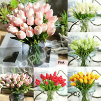 10 Head Artificial Tulip Bouquet Silk Fake Flowers Leaf Wedding Party Home Decor