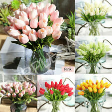 10 Head Artificial Tulip Bouquet Silk Fake Flowers Leaf Wedding Party Home Decor