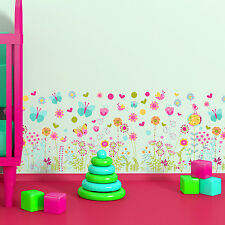 Princess Girl Room Decoration with Butterflies and Flowers Skirting Wall Sticker