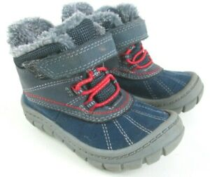 Boys/Toddler Oshkosh Bgosh Winter Boots Shoes Size 6 Blue Red Fur Lined Cute