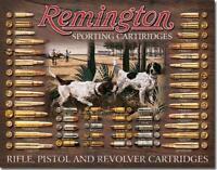 Remington Hunting Dogs Cartridges Bullets Shells Rifles/Pistols Tin Metal Sign