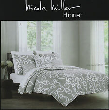 Nicole Miller GRAY SCROLL 3pc Full QUEEN DUVET COVER SET Grey White 300tc COTTON