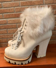 Prada Leather Fox Fur White women boots shoes 36,5 6,5