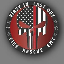 """Punisher Fire Rescue EMT Red Line American Flag 4"""" Car or Truck Decal Sticker"""