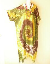KD338 Tie Dye Boho Caftan Kimono Sleeve Tunic Hippy Maxi Dress - 2X, 3X, 4X, 5X