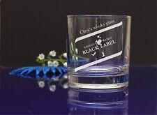 Personalizzata Qualsiasi Nome Black Label incisa Compleanno X-Mas WHISKY/Bicchiere da vetro 70