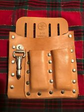 KLEIN 5126 Leather 5-Pocket Tool Pouch,with Knife Snap, BROWN