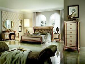 Bett + Nachttisch royal Schlafzimmer Polsterbett Barock Rokoko Designer Möbel