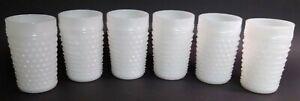 "Vintage Fenton Spike Hobnail Milk Glass Juice Cup Tumblers 3 1/2"" MCM Set of 6"