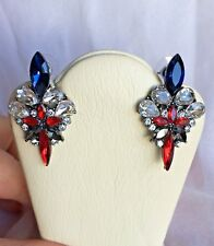 """Adorable Silver Tone Red/ Blue/ Clear Crystal Fashion Long Earrings 2"""" BNEW"""
