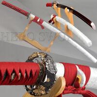 Sliver&Dark Red Damascus Steel Full Tang Blade Japanese Samurai Katana Sword