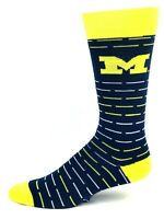 Michigan Wolverines NCAA Navy Yellow and White Stripes Crew Thin Socks