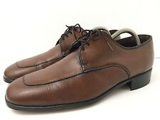 Vintage Mens Sz 9.5 Bostonian Lace Up Brown Textured Leather Shoe Oxford EUC USA