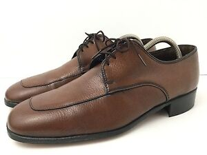 Vintage Bostonian Leather Shoes Lace Up Brown Textured Mens 9.5 Excellent USA