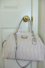 AUTH Coach 30783 Madison Gathered Leather Dome Satchel in Parchment NWT