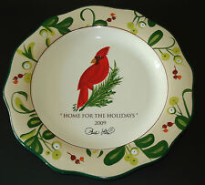"""PAULA DEEN AT HOME COLLECTOR'S SERIES """"HOME FOR THE HOLIDAYS"""" HANDPAINTED PLATE"""