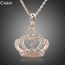 18K Rose Gold Plated Austrian Crystal Crown Chain Pendant Necklace Jewelry Gift