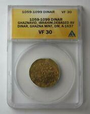 1059-99 Arab Empire Gold Dinar Ghaznavid ANACS VF 30 #75964JR