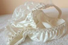 Ivory 100% Silk Satin & Lace String Bikini Brief Panty - Tanga Knickers M/L