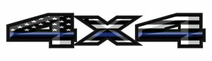 4X4 American Flag Thin Blue line Truck Bed Vinyl Decal Patriotic Fits Ford Truck
