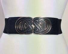 WIDE ELASTICATED BLACK WAIST BELT / LEATHER & GOLD METAL BUCKLE / FASHION / 50
